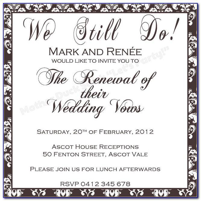 Wedding Vow Renewal Invitations Templates