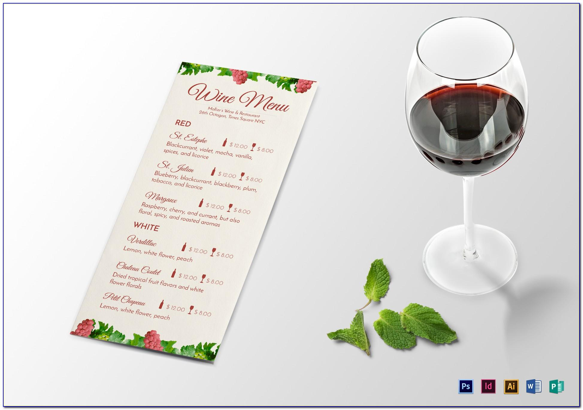 Wine List Menu Template Free Download