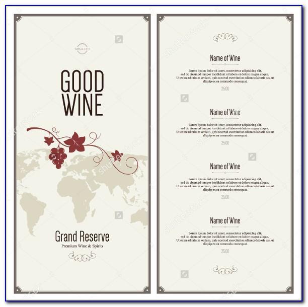 Wine Menu Design Templates Free