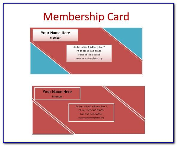 Word Template For Membership Cards