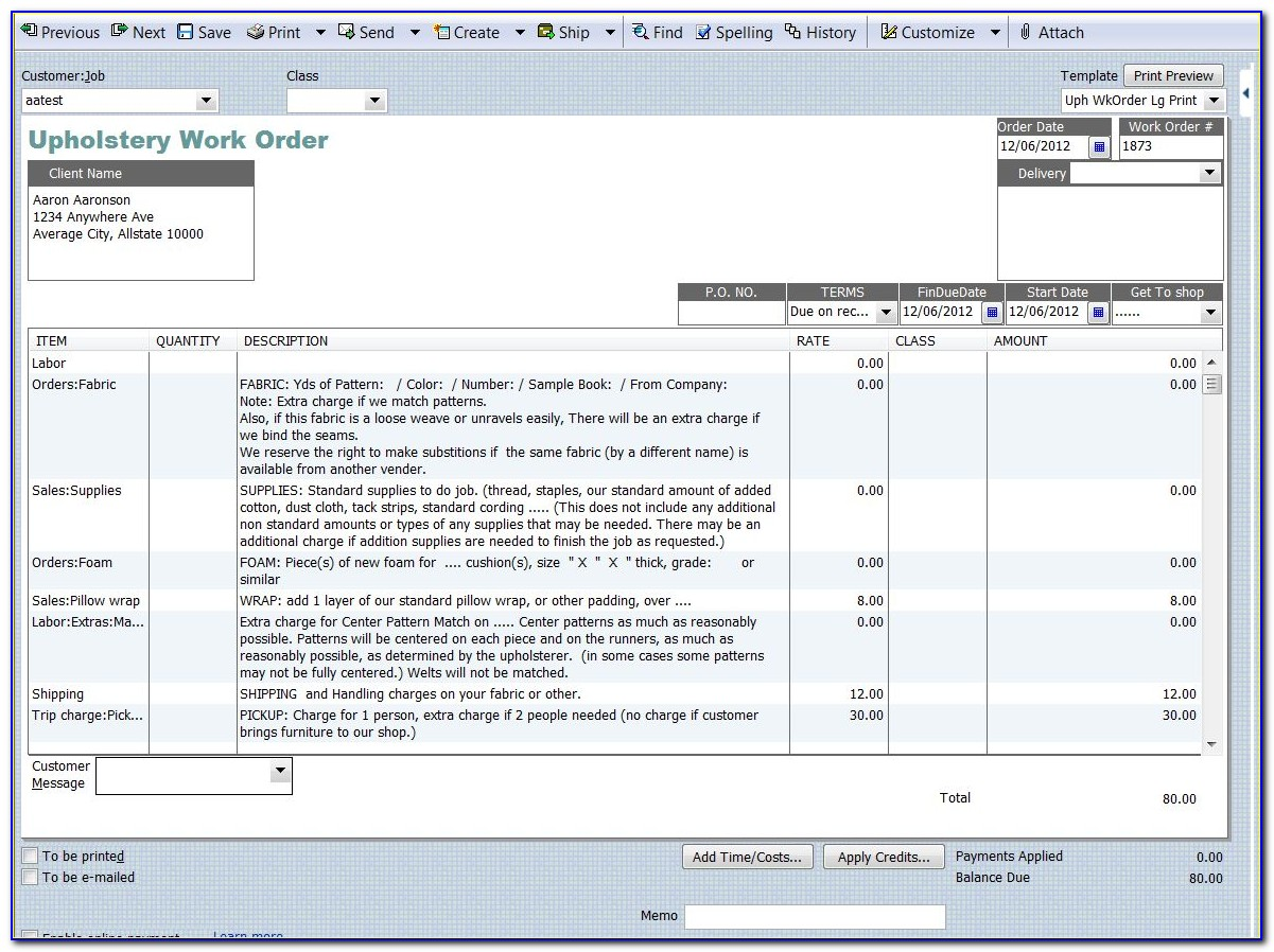 Work Order Template For Quickbooks