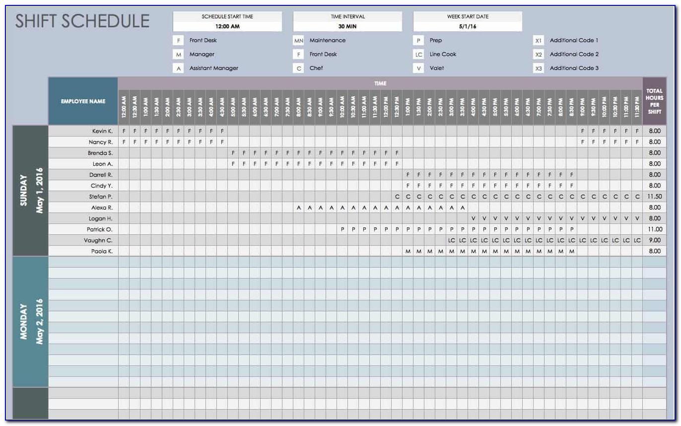 Work Schedule Excel Template