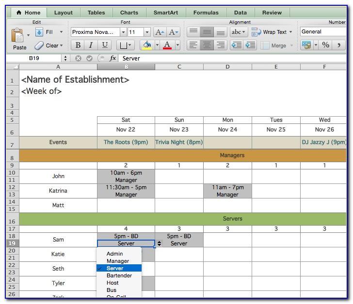 Workforce Scheduling Template