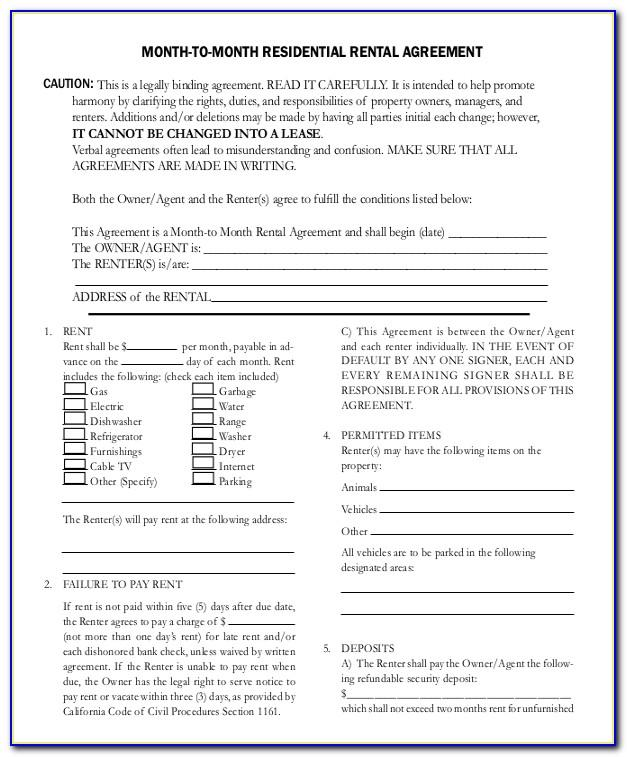 12 Month Rental Agreement Template