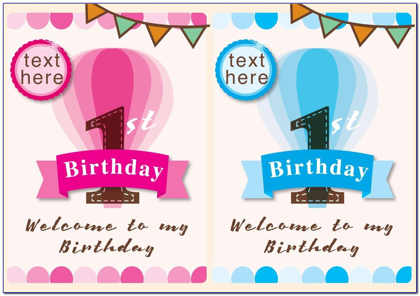 1st Birthday Invitation Template Psd Free Download
