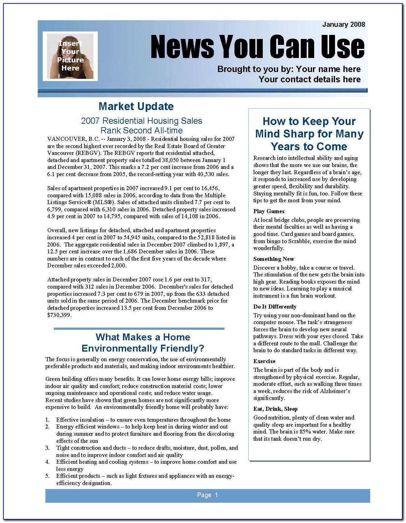 2 Page Newsletter Template Word Free
