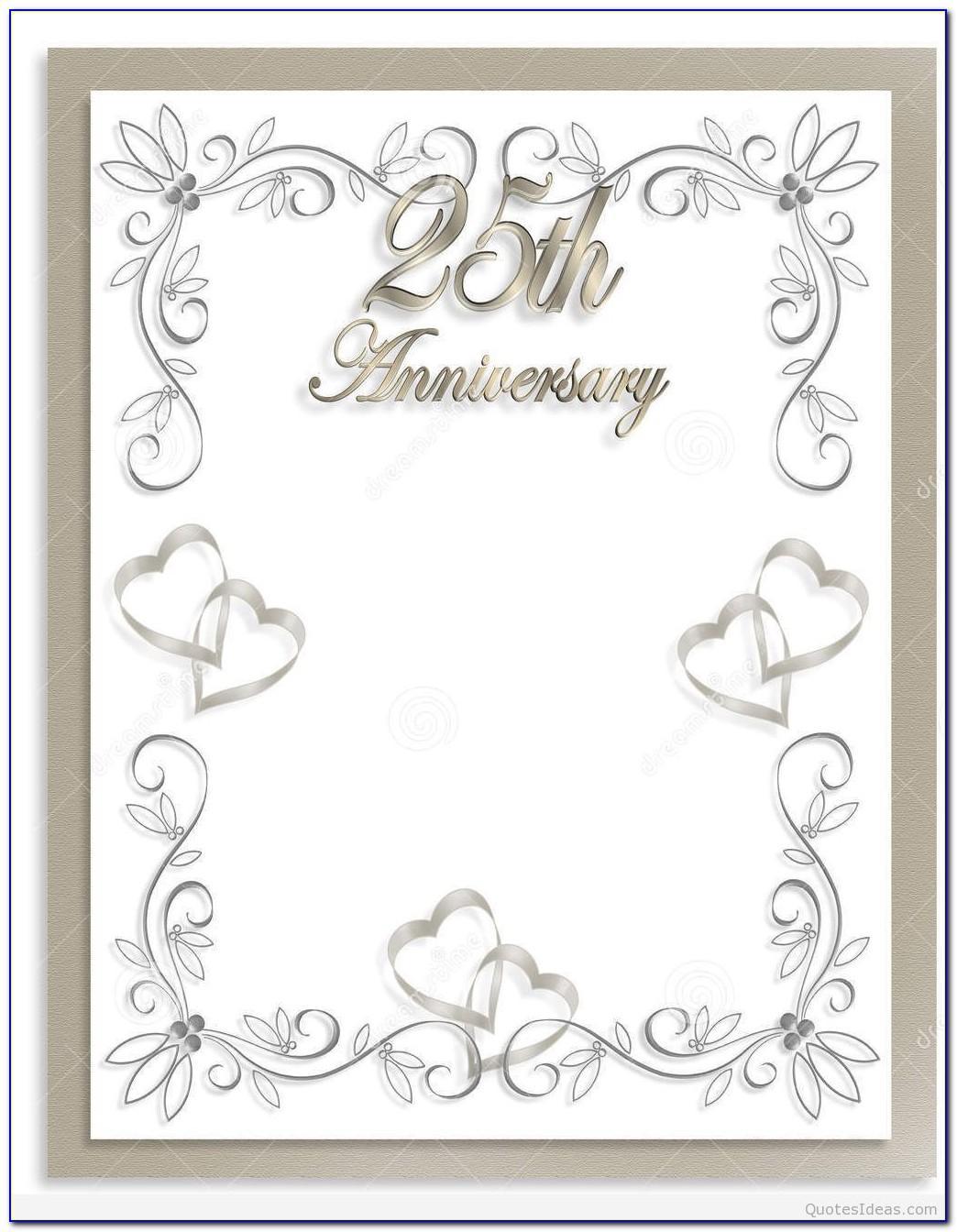 25th Anniversary Invitation Templates Free