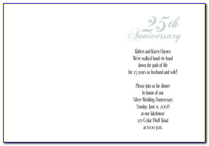 25th Wedding Anniversary Invitation Templates Free Download