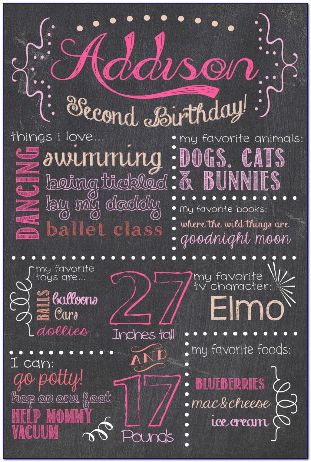 2nd Birthday Chalkboard Template