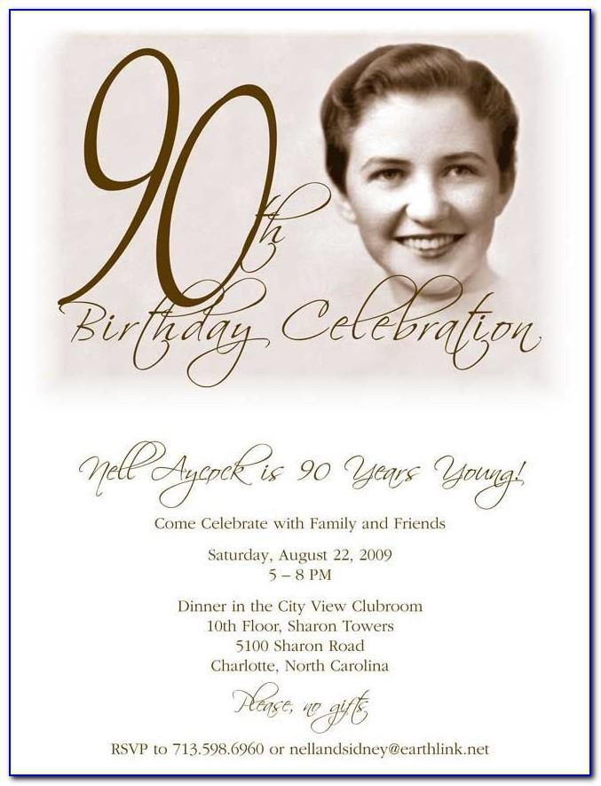 90th Birthday Invitation Template Free