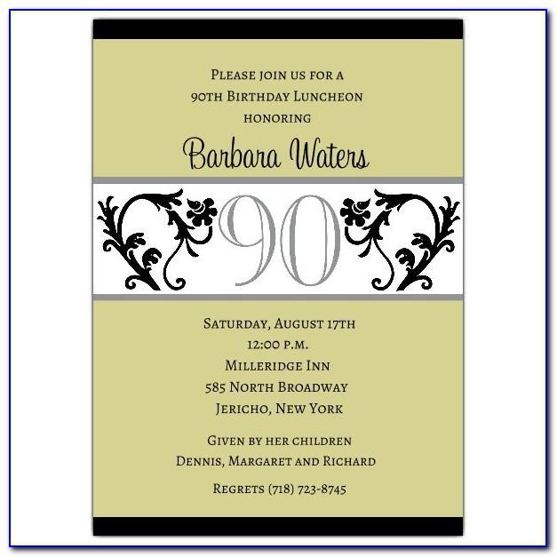 90th Birthday Party Invitation Templates Free