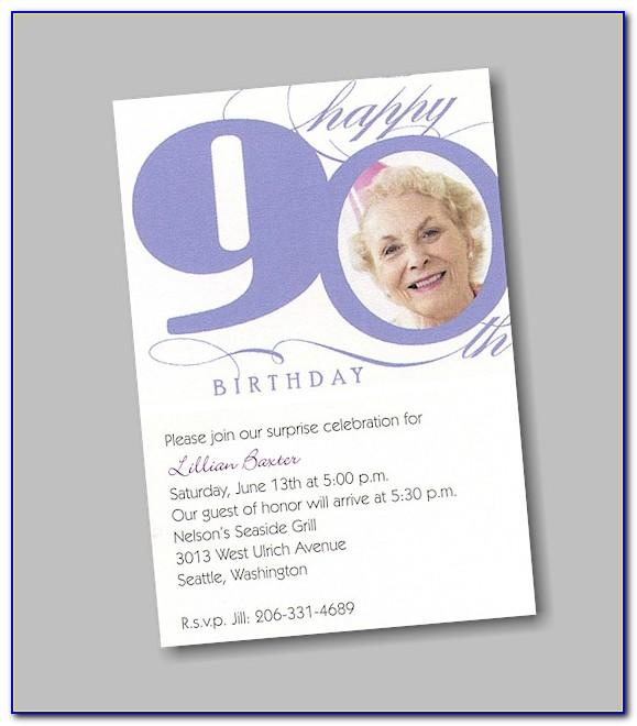 90th Birthday Party Invitations Templates Free Download