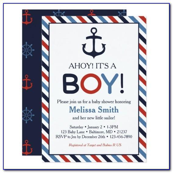 Ahoy Its A Boy Invitation Wording
