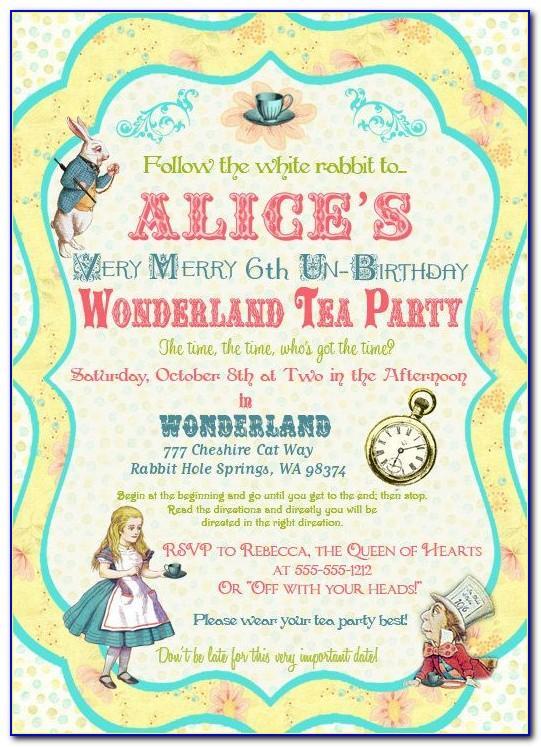 Alice In Wonderland Invitations Free Printables
