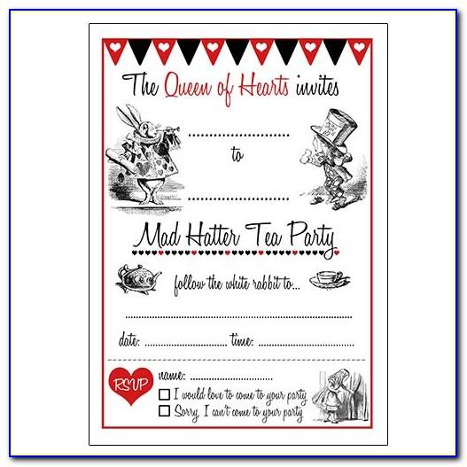 Alice In Wonderland Invitations Template Free