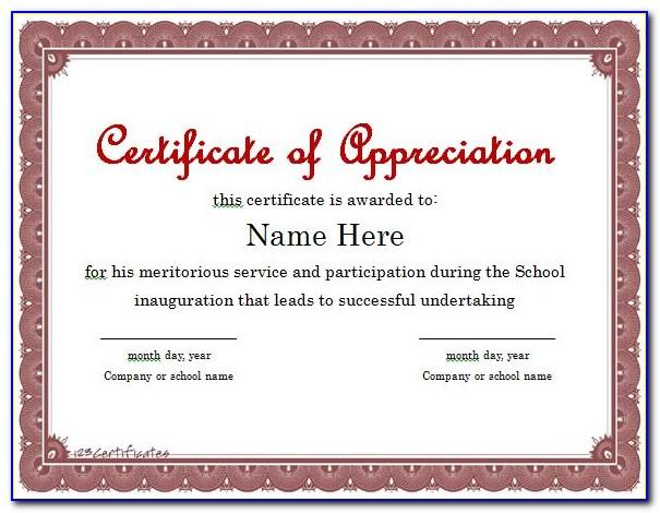 Appreciation Certificate Printable Free