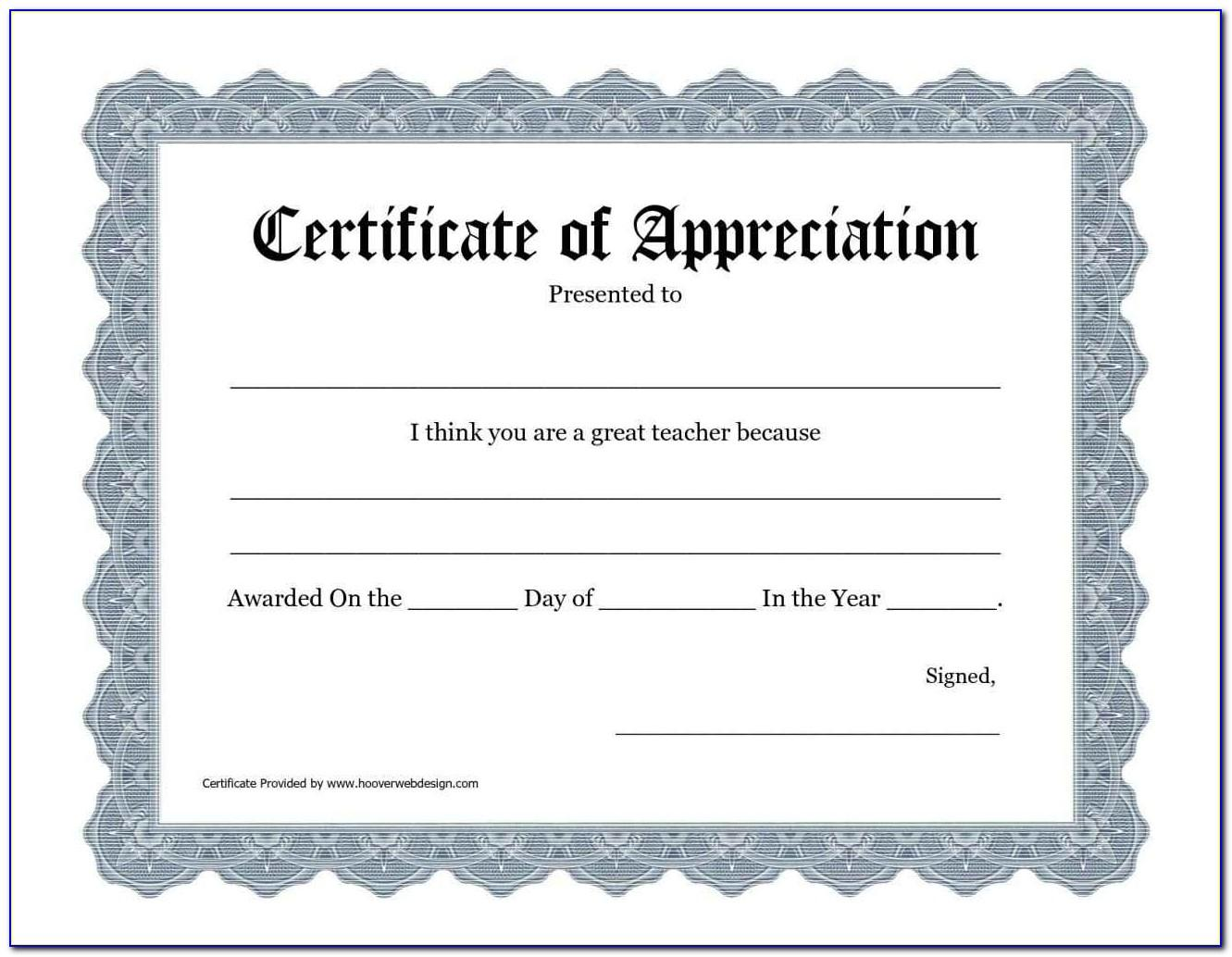 Appreciation Certificate Templates For Teachers