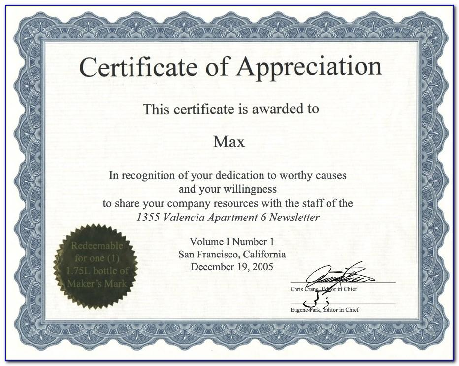 Appreciation Certificate Templates Free