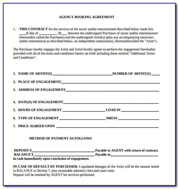 Artist Booking Agreement Template
