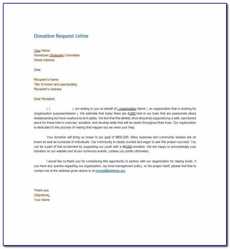 Asking For Donations Sample Letter