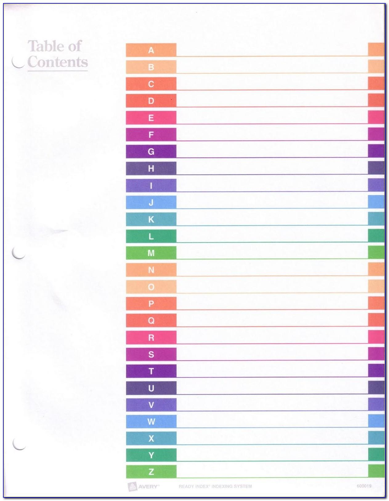 Avery Table Of Contents Template 31 Tab Color