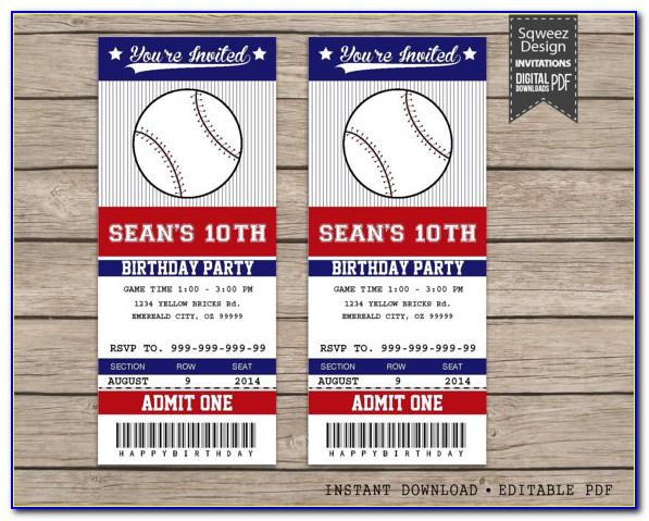 Baseball Ticket Wedding Invitations Template