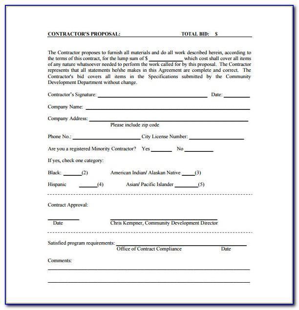 Bid Contract Form
