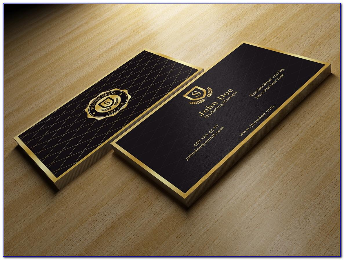Black And Gold Business Card Template Psd Free