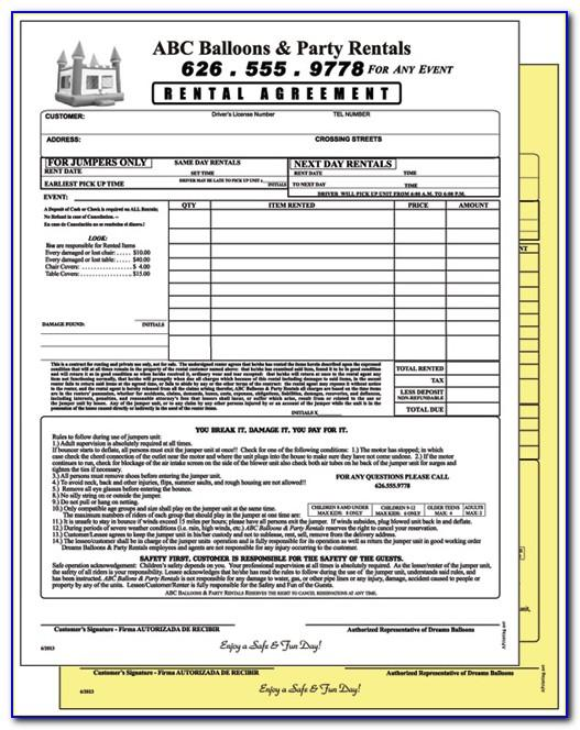 Bounce House Rental Waiver Form