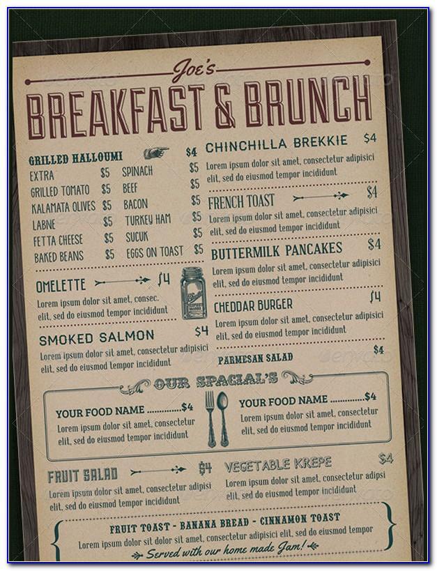 Breakfast Restaurant Menu Templates Free