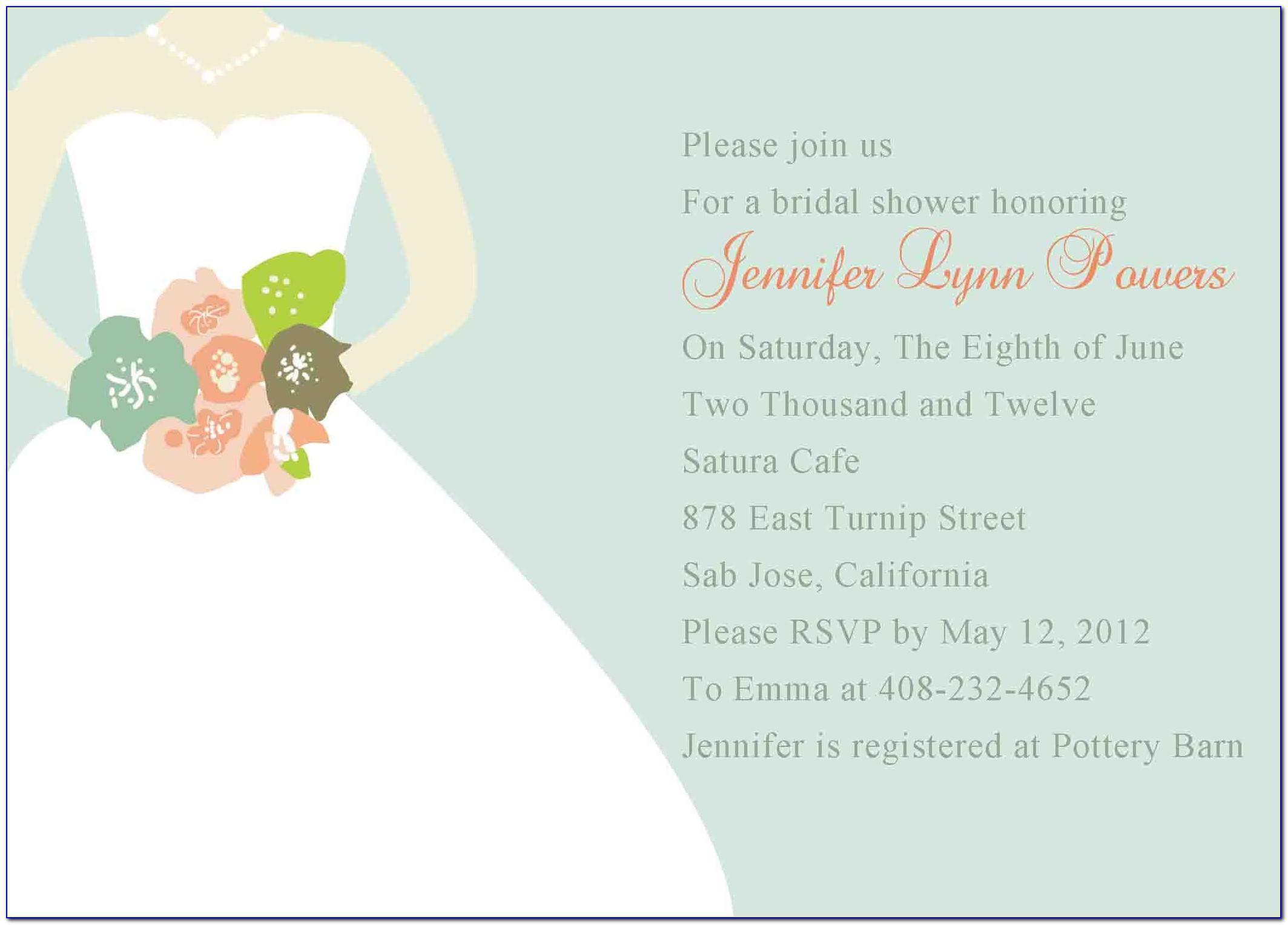 Bridal Shower Invitation Free Template