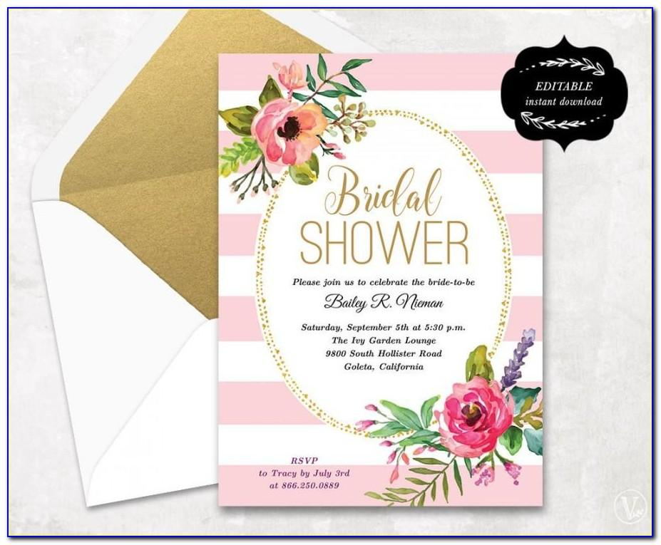 Bridal Shower Invitations Free Template
