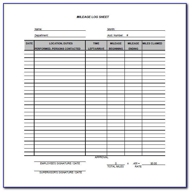 Business And Personal Mileage Log Template