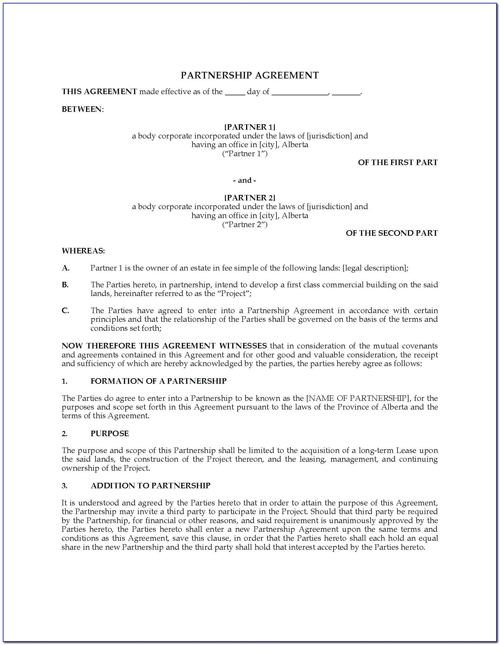 Business Partnership Mou Template