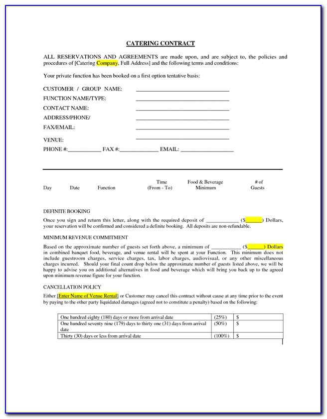 Candy Buffet Contract Template