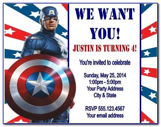 Captain America Invitation Card Template