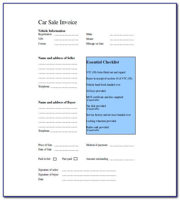 Car Sales Invoice Template Uk