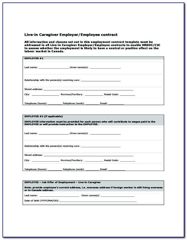 Caregiver Contract Template Florida