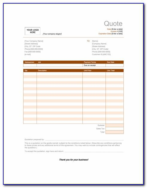 Catering Quotation Template Excel