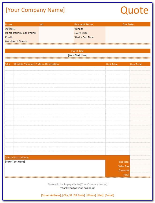 Catering Quotation Templates Free
