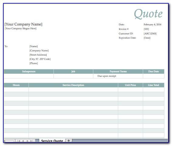Catering Quote Template Pdf
