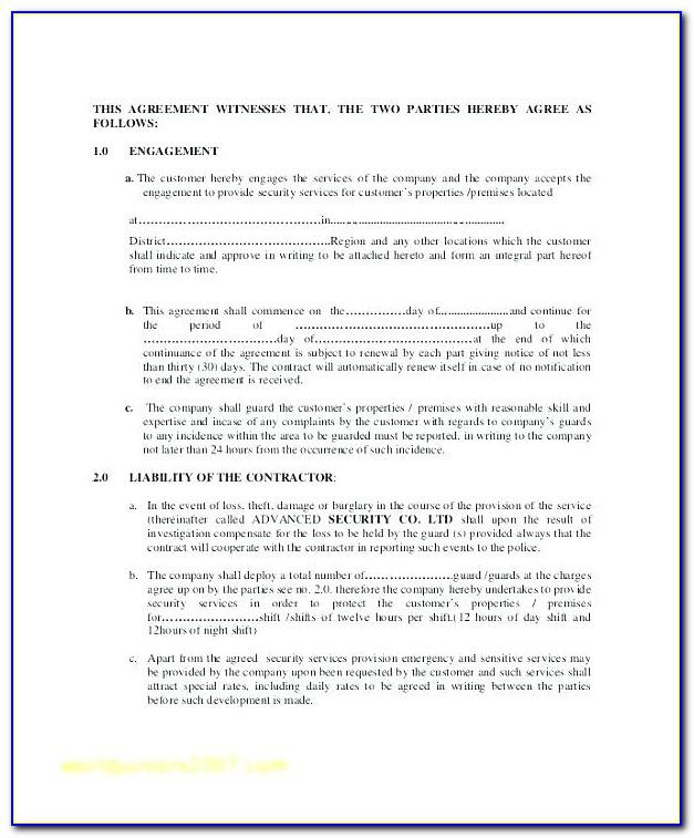 Cctv Service Agreement Template