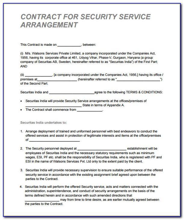 Cctv Service Contract Template