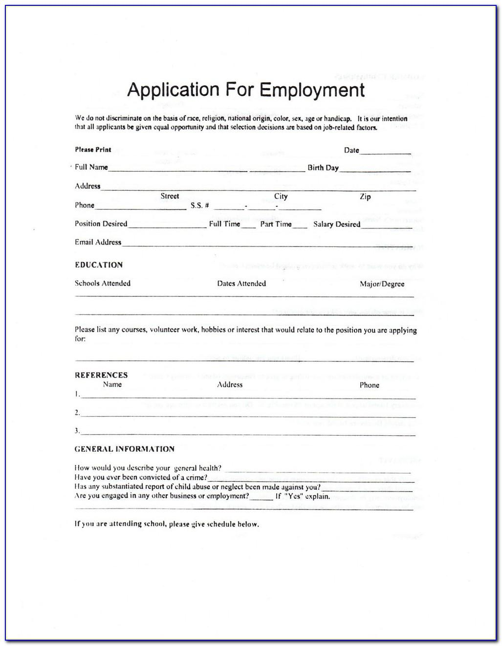 Child Care Employment Application Template