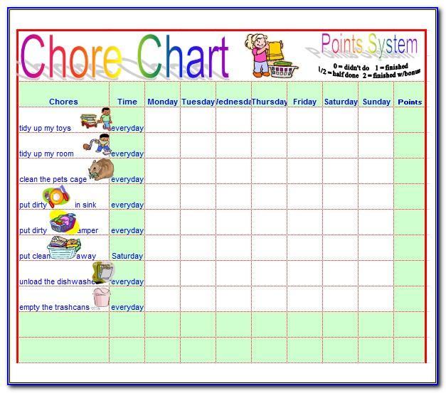 Children's Chore Chart Template