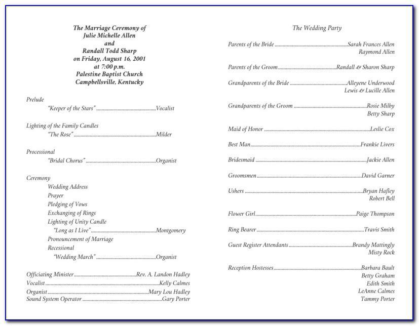 Christian Wedding Ceremony Program Sample