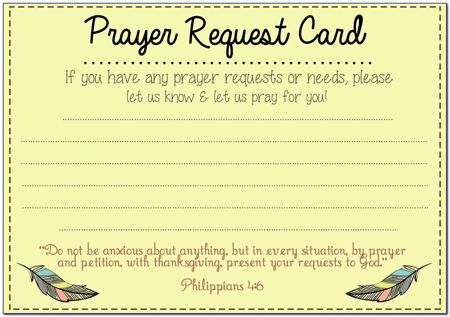 Church Prayer Request Cards Template
