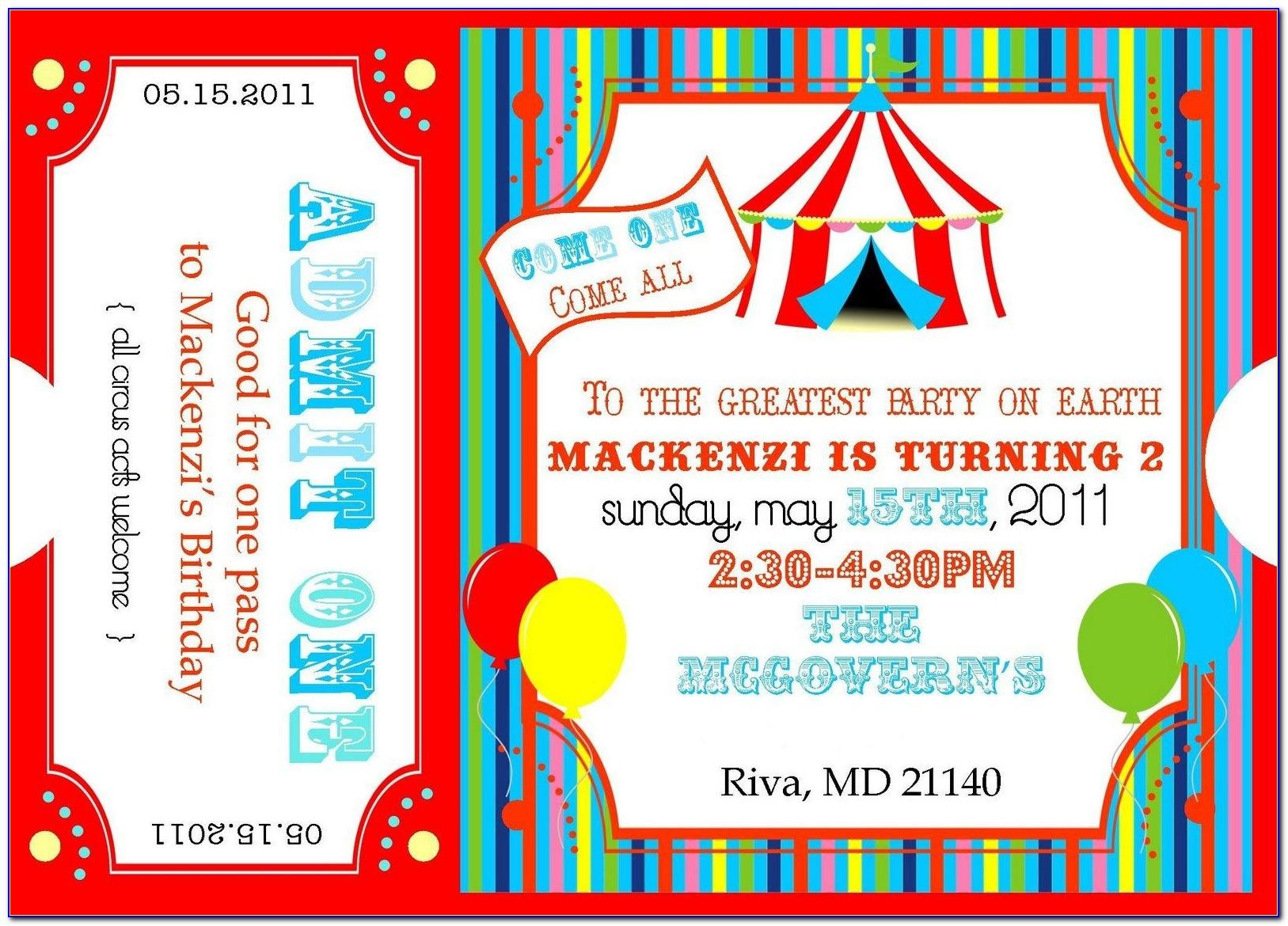 Circus Birthday Invitation Templates Free