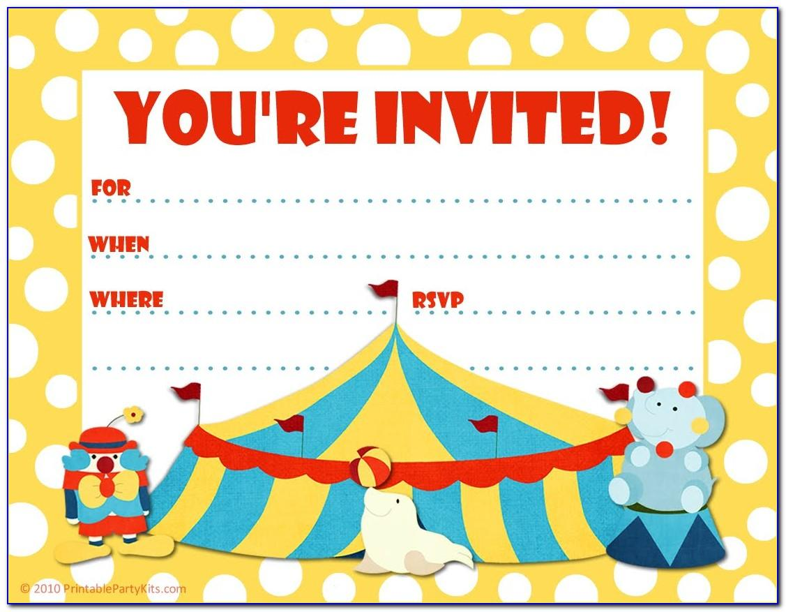 Circus Birthday Party Invitation Templates