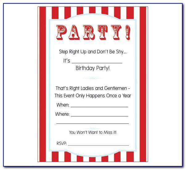 Circus Party Invitation Template